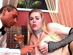 Servant sucks cock of madam shemale