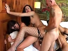 Lusty shemales get cum in wild orgy
