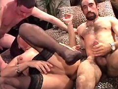 Two men fuck lustful mature shemale