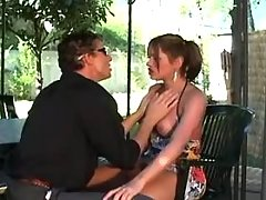 Shemale and dude enjoy oral outdoor
