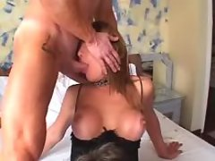 Brunet tgirl with two dudes in orgy