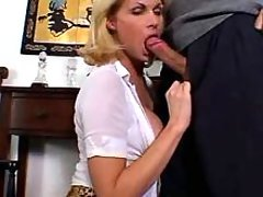 Blond ts sucks cock and gets woody