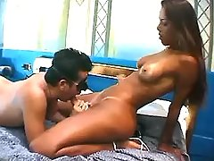Latin tranny sucked by guy and cums