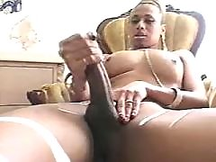 Mulatto tranny masturbates and cums