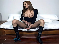 Horny tranny rubs cock solo