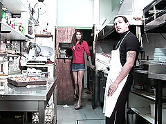 Tranny doing the cook in the kitchen