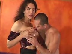 Glamour hot shemale cums after anal